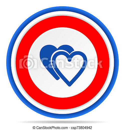 Love round icon, red, blue and white french design illustration for web, internet and mobile applications - csp73804942