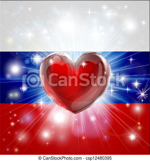 Love Russia flag heart background - csp12480395