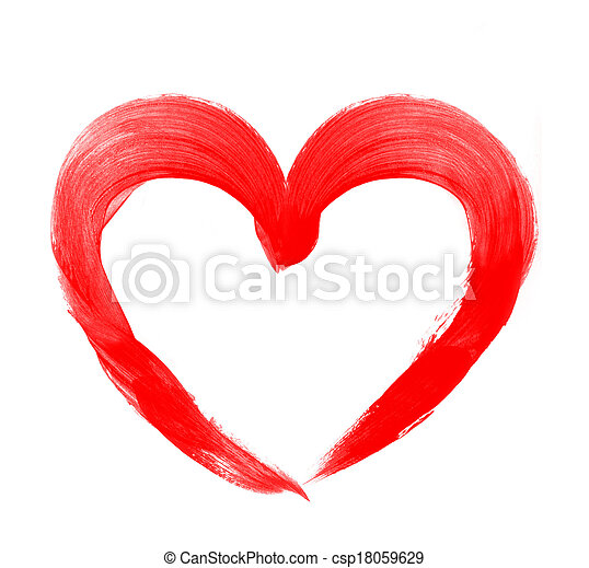 Love shape heart drawn with red paint on a white background - csp18059629