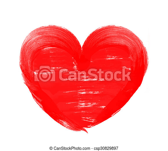 Love shape heart drawn with red paint on a white background - csp30829897