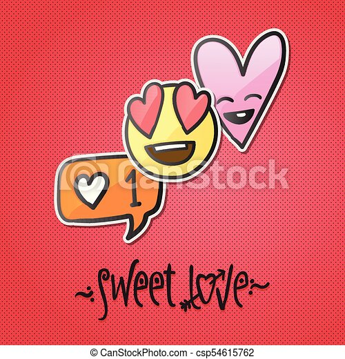 Love stickers, emoji, icons, emoticons, vector illustration