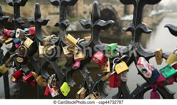 Love Symbol Padlock Love Locks Charles Bridge And Prague Castle