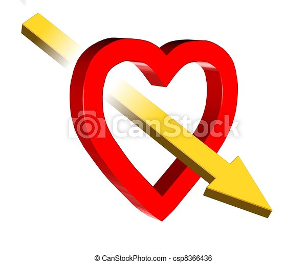 Love Symbol 3d Valentine Illustration Of Red Heart And Yellow Arrow