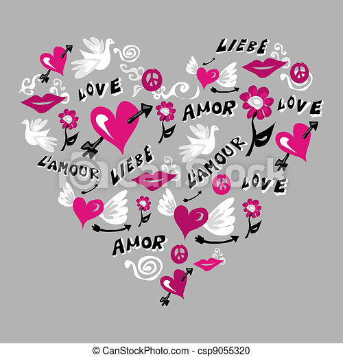 Love Symbols In Heart Shape Love Symbols Composition In Heart