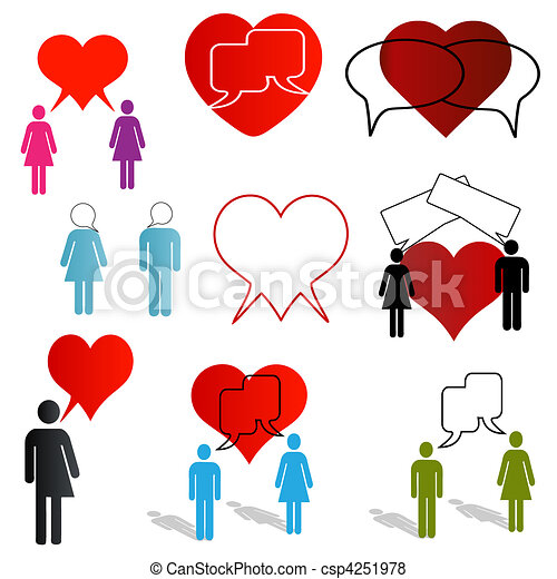 Love Talk And Dating Icons A Set Of Icons Depicting Online Dating