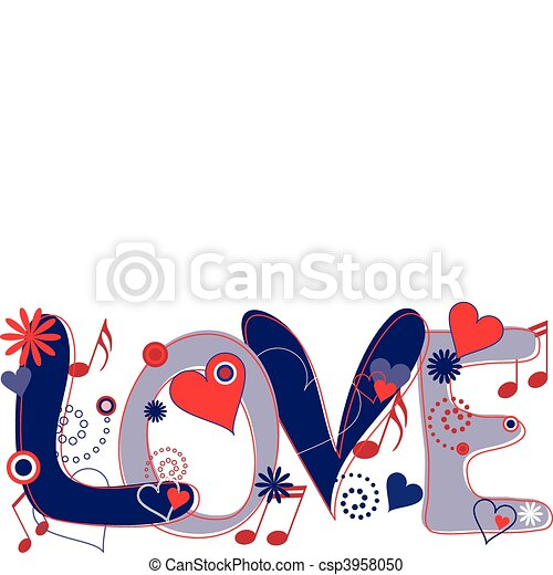 Love Text In Red White And Blue Abstract Concept Collage Of Hand