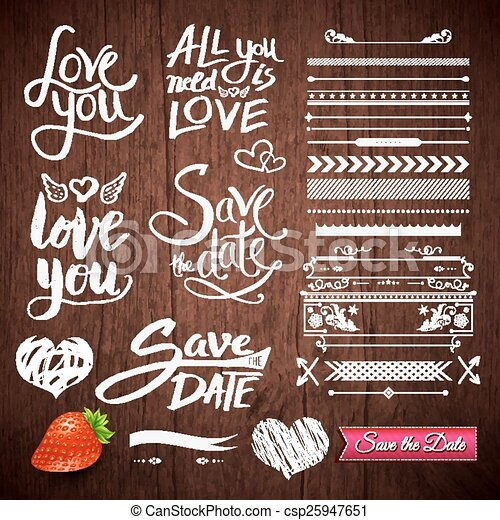 Love Texts Borders Symbols On Wooden Background Set Of White Love