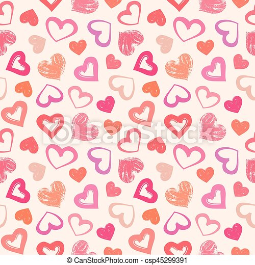 Love Theme Hearts Valentines Day Seamless Pattern Background