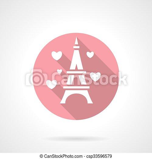 Love tour round pink vector icon - csp33596579
