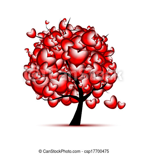 Love tree design with red hearts for valentine day - csp17700475
