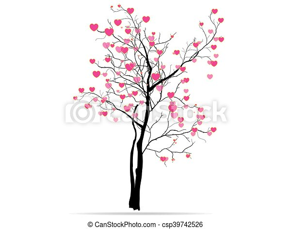 love tree having heart shapes in red and pink color on white background for Valentines Day and other occasions. - csp39742526