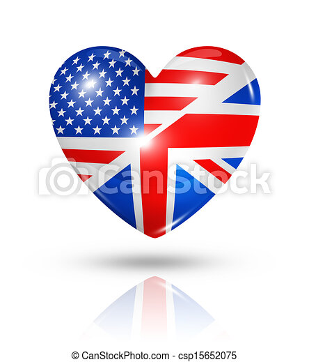 Love USA and UK, heart flag icon - csp15652075