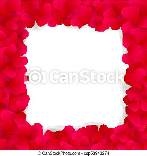 Love valentines or wedding elegant frame made of red hearts isolated ...
