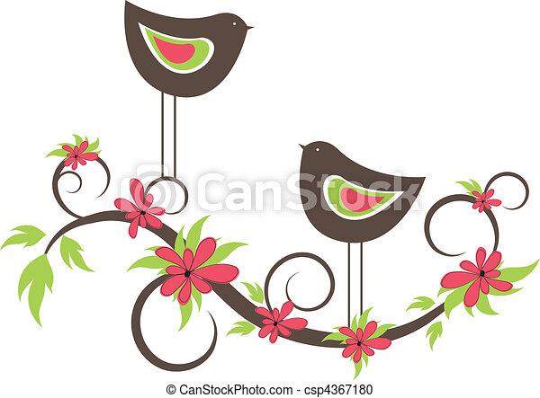 Dos pájaros enamorados. Vector - csp4367180