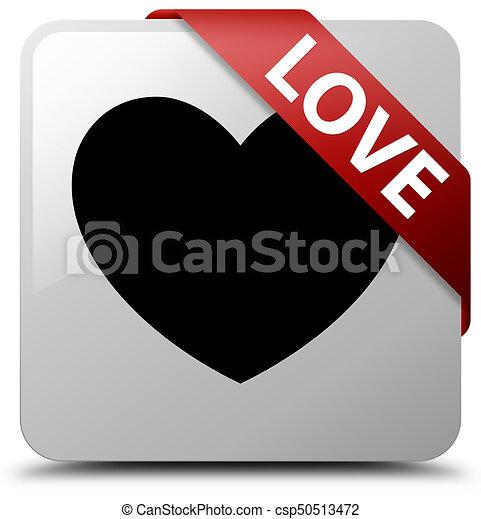 Love white square button red ribbon in corner - csp50513472