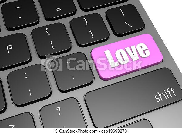 Love with black keyboard - csp13693270
