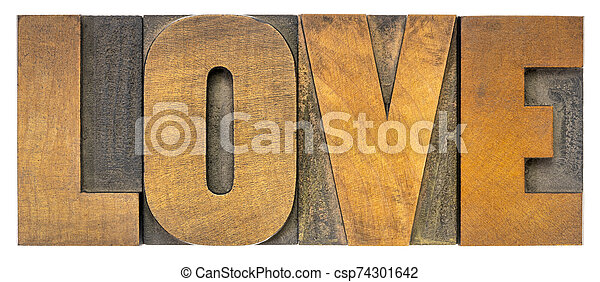 love word in letterpress wood type - csp74301642