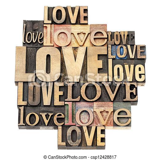 love word in wood type - csp12428817