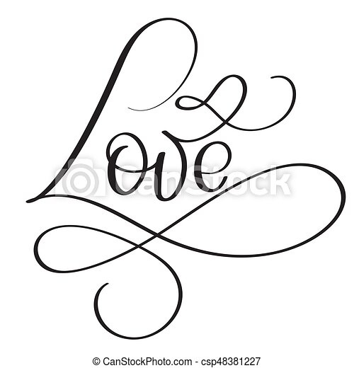 Love Word On White Background Hand Drawnigraphy Lettering Vector Il Ration Eps