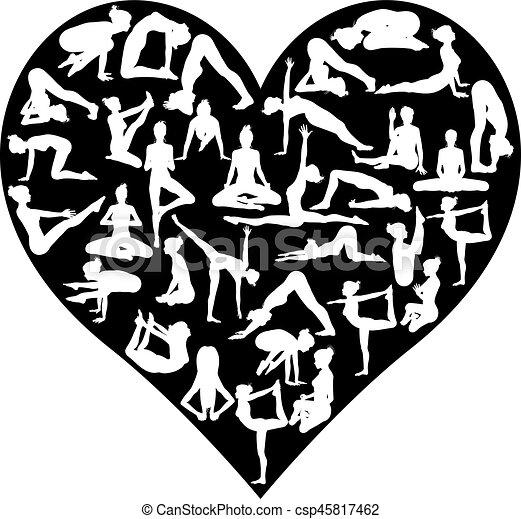 Love Yoga Poses Silhouettes Heart - csp45817462