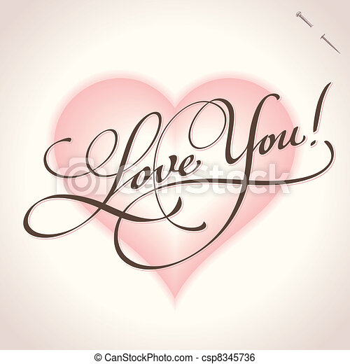 'love you' hand lettering (vector) - csp8345736
