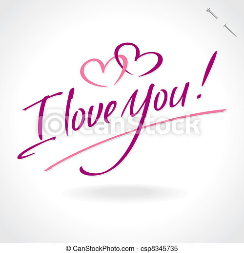 'love you' hand lettering (vector) - csp8345735
