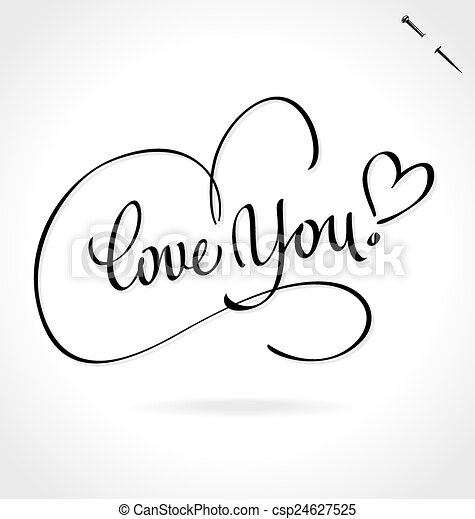 LOVE YOU hand lettering (vector) - csp24627525