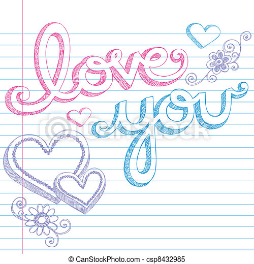 love you valentines heart doodles hand drawn valentine s day love