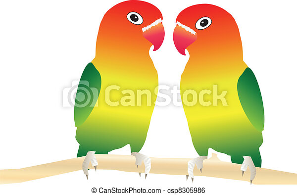 two lovebirds perched on a tree branch suitable for clip art rh canstockphoto com love bird logo clipart love bird clipart black and white