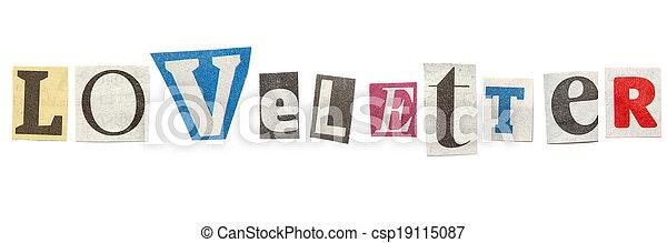 Loveletter cutout newspaper letters loveletter words composed loveletter cutout newspaper letters csp19115087 spiritdancerdesigns Choice Image