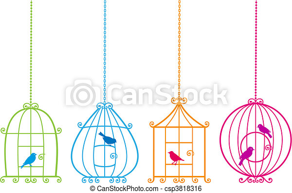 lovely birdcages with cute birds, v - csp3818316