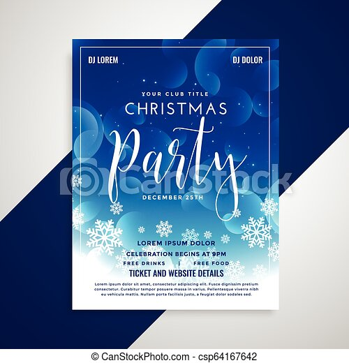 lovely blue shiny christmas flyer design with snowflakes - csp64167642