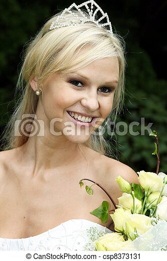 Lovely Bride at the Beach - csp8373131