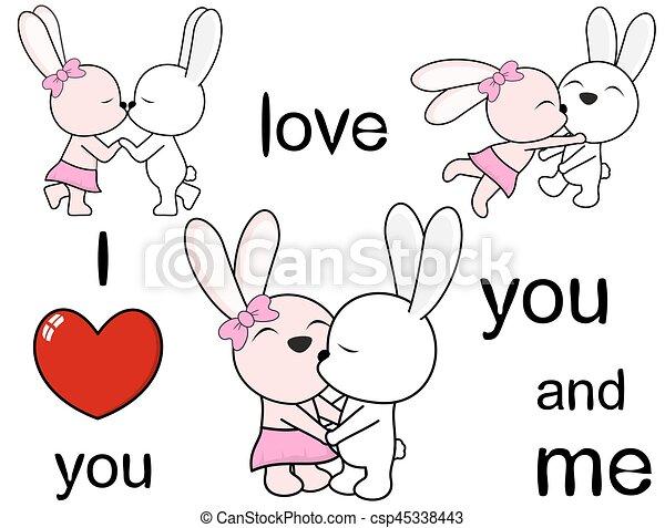 Lovely Cute Bunny Cartoon Love Set In Vector Format