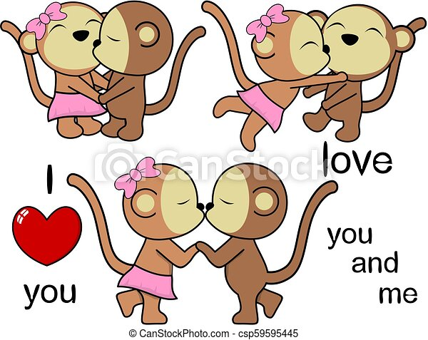 Image of: Romantic Lovely Cute Monkey Kissing Cartoon Love Valentine Set Csp59595445 Can Stock Photo Lovely Cute Monkey Kissing Cartoon Love Valentine Set Lovely Cute