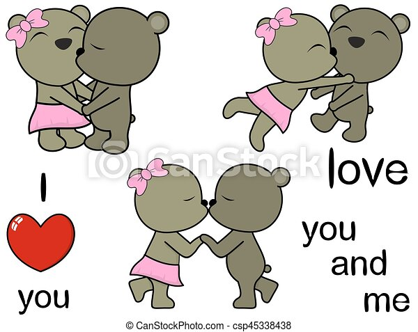 lovely cute teddy bears cartoon love set - csp45338438