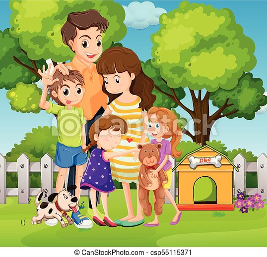 lovely family with three kids and dog in garden illustration father and daughter clipart images parents and daughter clipart