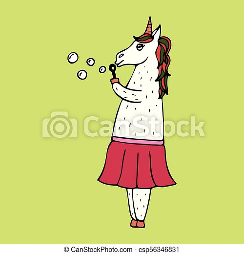 Lovely hand-drawn unicorn-woman with soap bubbles. - csp56346831