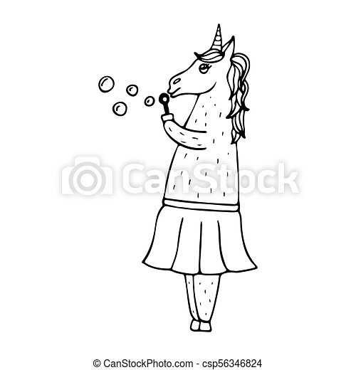 Lovely hand-drawn unicorn-woman with soap bubbles. - csp56346824