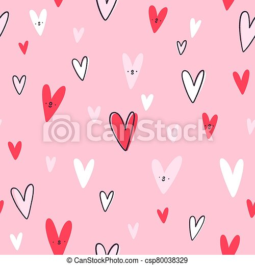 Lovely hearts vector seamless pattern - csp80038329