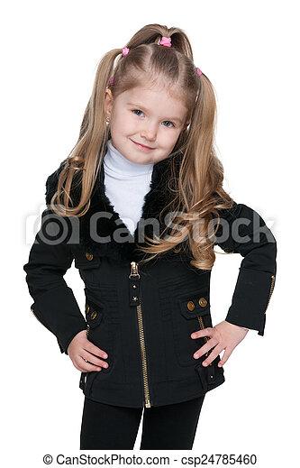Lovely little girl in the black jacket - csp24785460
