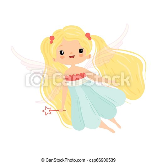 Lovely Little Winged Fairy With Blonde Long Hair Beautiful Flying Girl Character In Fairy Costume With Magic Wand Vector