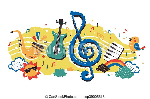 lovely musical element cute and colorful element of music vector rh canstockphoto com music artwork vector music vector art free download