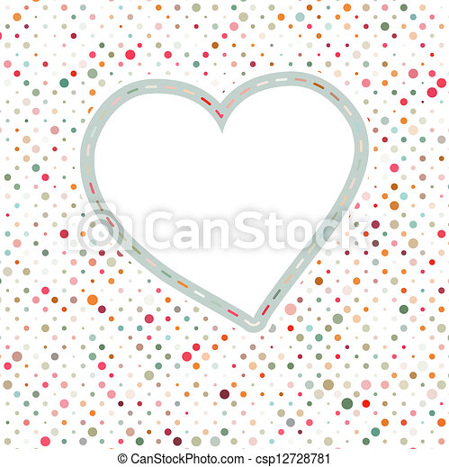Lovely pink blue polka dots heart frame. EPS 8 - csp12728781