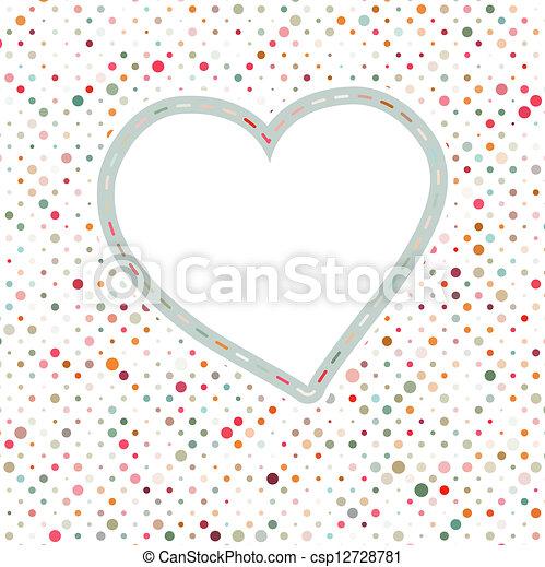 Lovely pink blue polka dots heart frame. EPS 8 - csp12728781