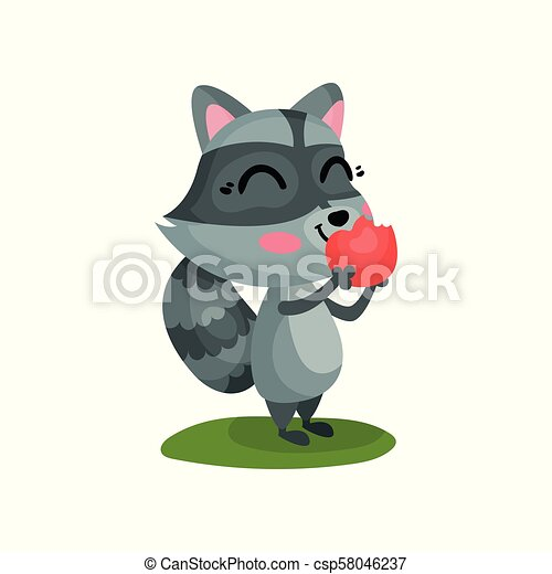 Lovely raccoon eating ripe red apple. Cartoon character of wild forest animal with happy face expression. Flat vector icon - csp58046237