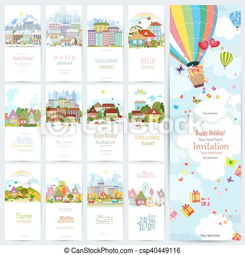 lovely set banners of cute cityscape urban landscape of four