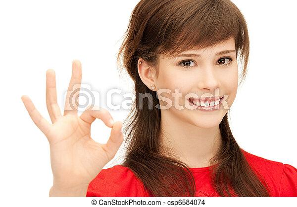 lovely teenage girl showing ok sign - csp6584074