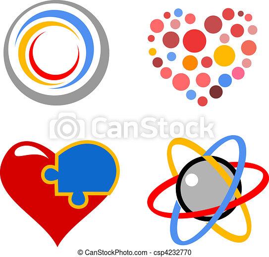 lovely vector heart symbols - csp4232770