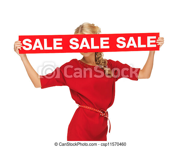 lovely woman in red dress with sale sign - csp11570460